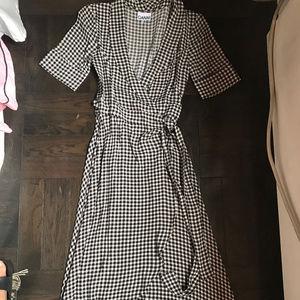 GANNI Gingham Wrap Dress